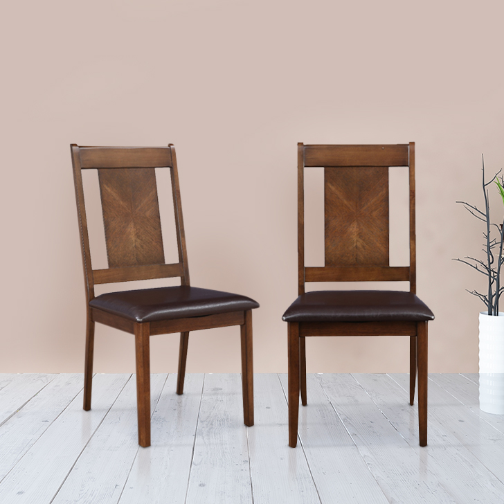 Detroit Solid Wood Dining Chair Set of Two in Walnut Colour by HomeTown