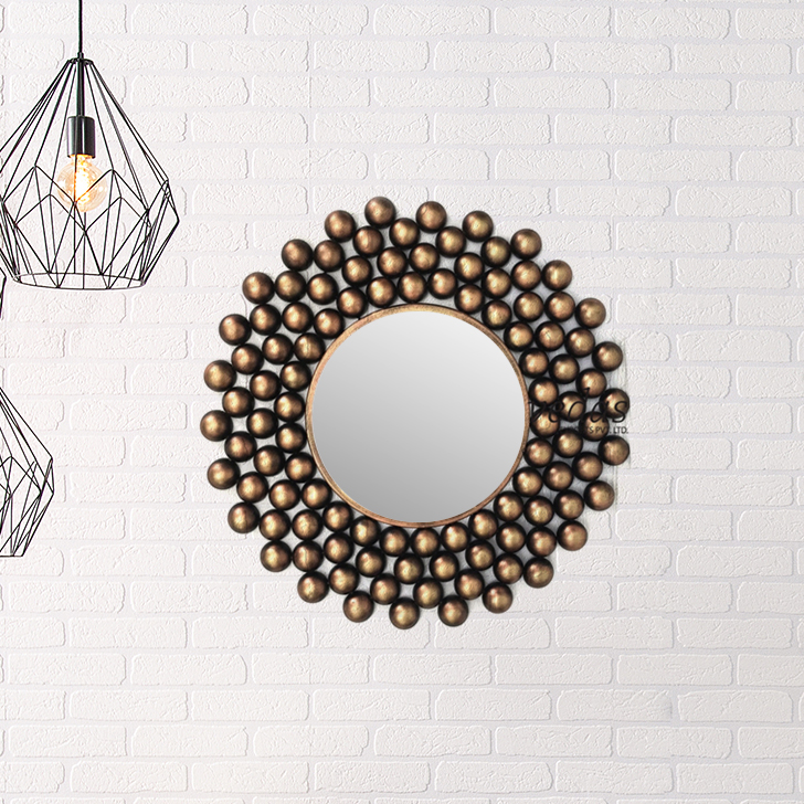 Metal Ball Mirror Iron Large Wall Accents in Mettalic Brown Colour by Royce