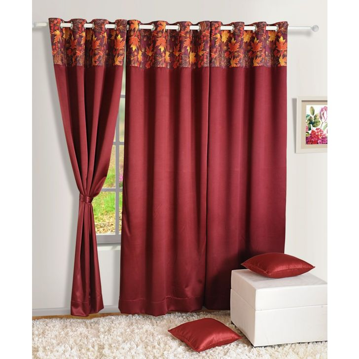 Swayam Polyester Curtain in Maroon Colour