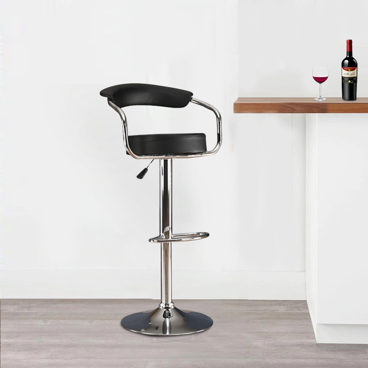 Nook Leatherette Bar stool in Black Colour