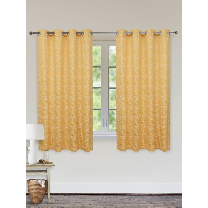 Fiesta Jacquard Set of 2 Cotton Window Curtains in Mustard Colour by Living Essence