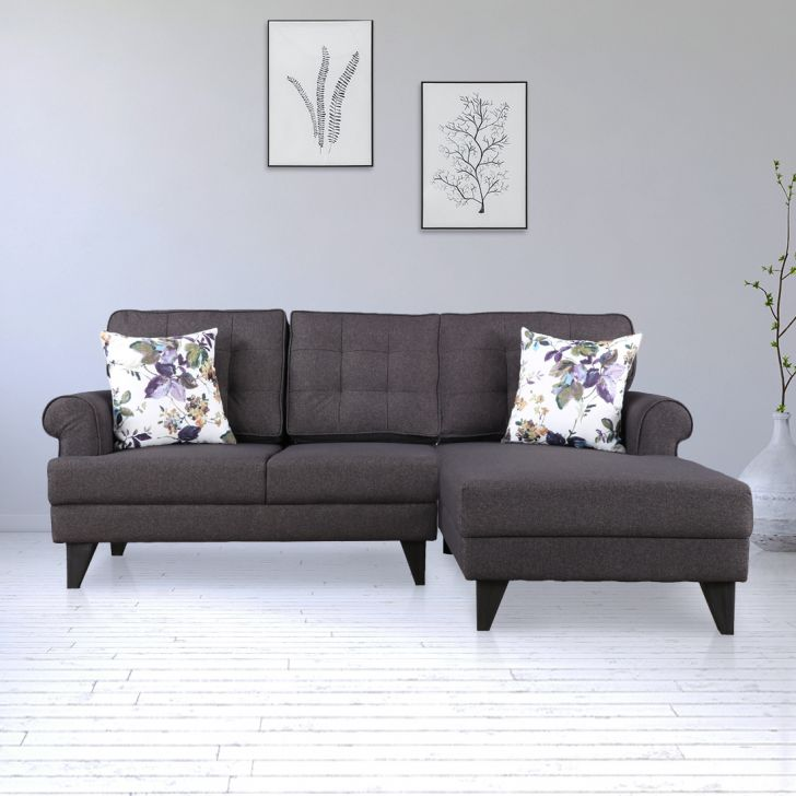 Paddington Fabric Left Hand Side Lounger in Brown Colour by HomeTown