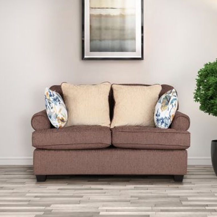Nicholas Fabric Two Seater sofa in Brown Colour by HomeTown