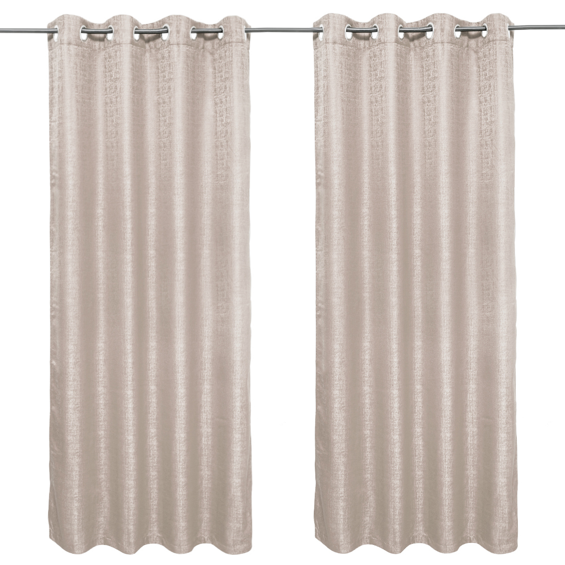 Nora Solid set of 2 Polyester Door Curtains in Beige Colour by Living Essence