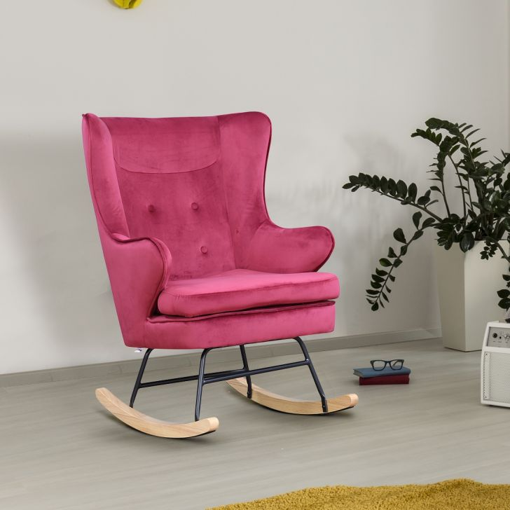Emerson Solid Wood Rocking Chair in Maroon Colour by HomeTown
