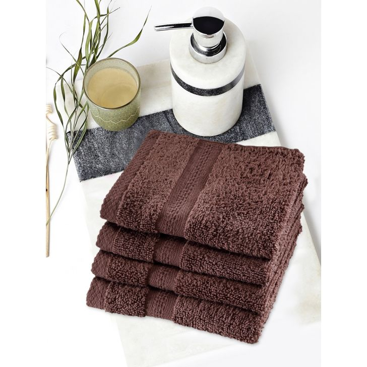 Paradiso Cotton Set Of 4 Face Towel 30X30 Cm in Chocolate Colour