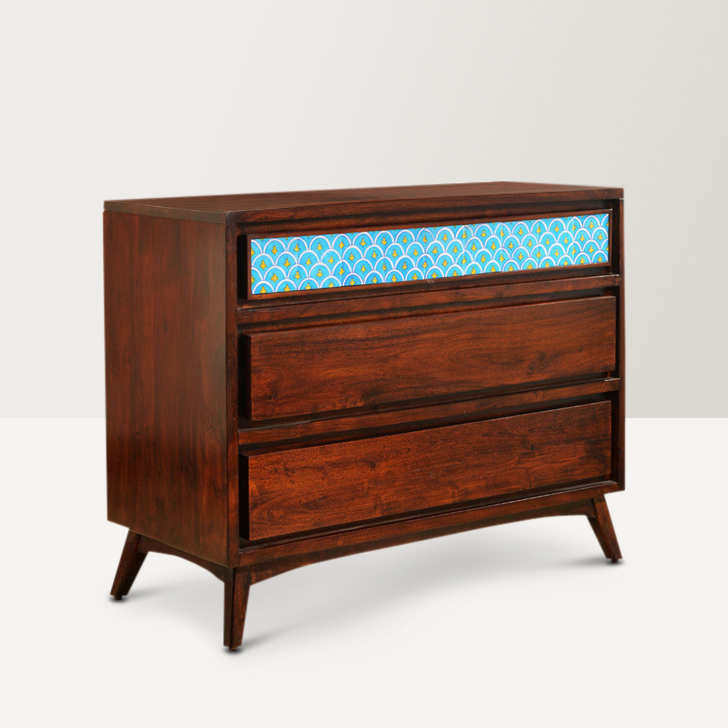Indigo Solid Wood Chest of Drawers in Brown Colour by HomeTown