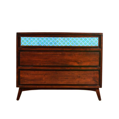 Buy Indigo Solid Wood Chest Of Drawers In Brown Colour By Hometown