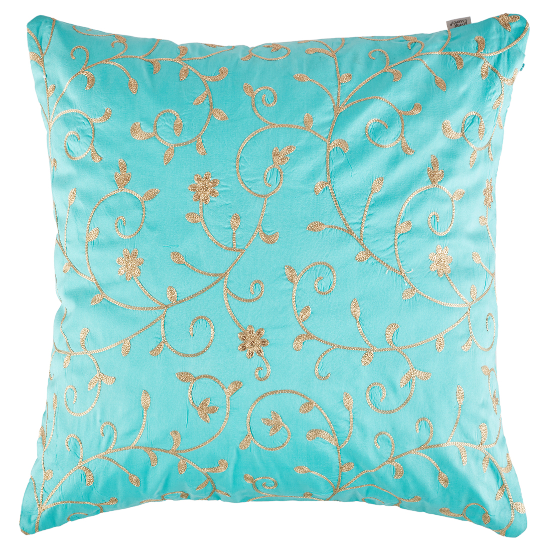 Palace Life Zari Jaal Polyester Cushion Covers in Aqua Colour by Living Essence