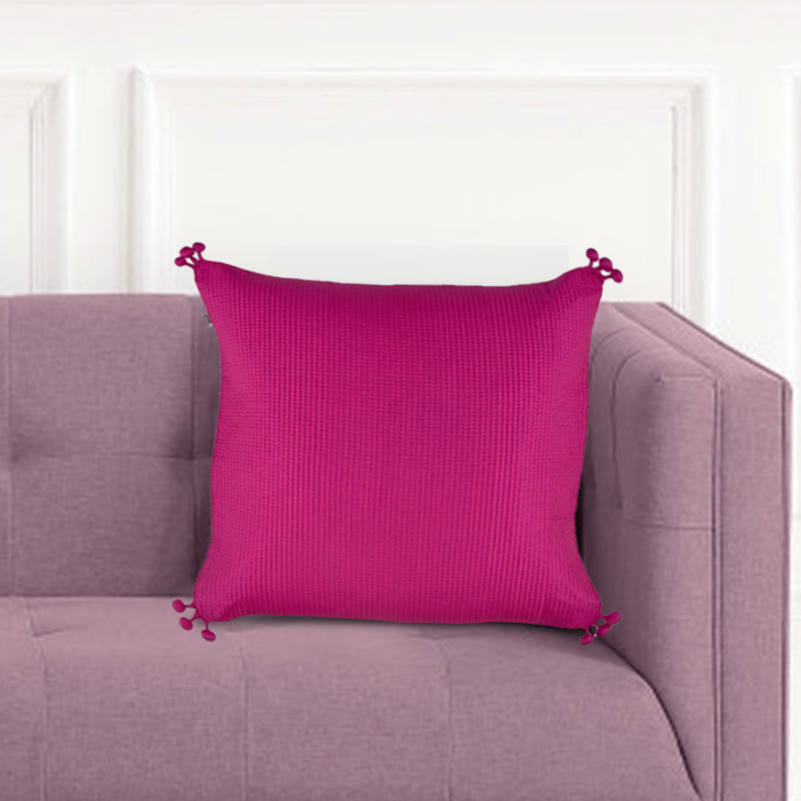 Pompom Cushion Cover Polyester Cushion Covers in Pink Colour by Living Essence
