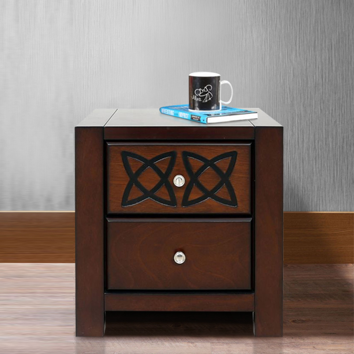 Astra Solid Wood Bedside Table in Brown Colour by HomeTown