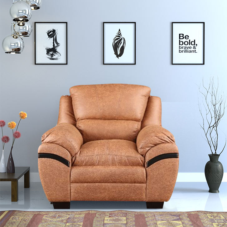 Eleanor Fabric Single Seater sofa in Tan Colour by HomeTown