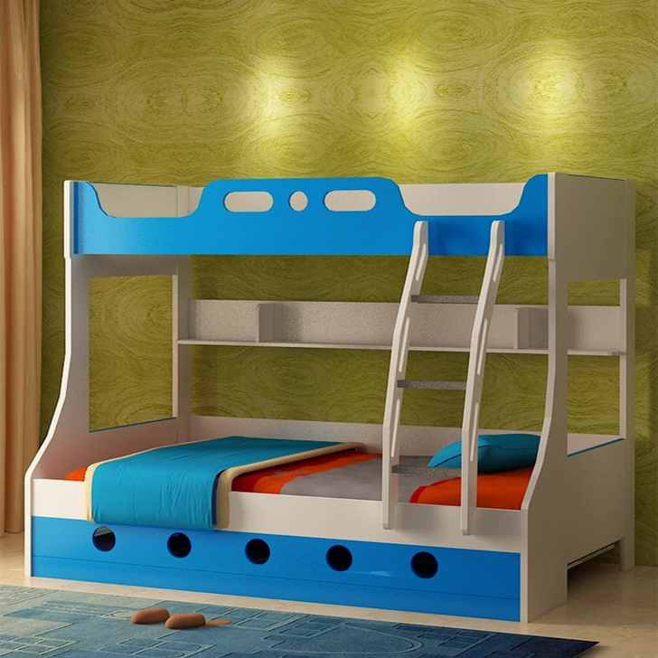 Jerry Engineered Wood Bunk Bed without Trundle in Blue Colour by HomeTown