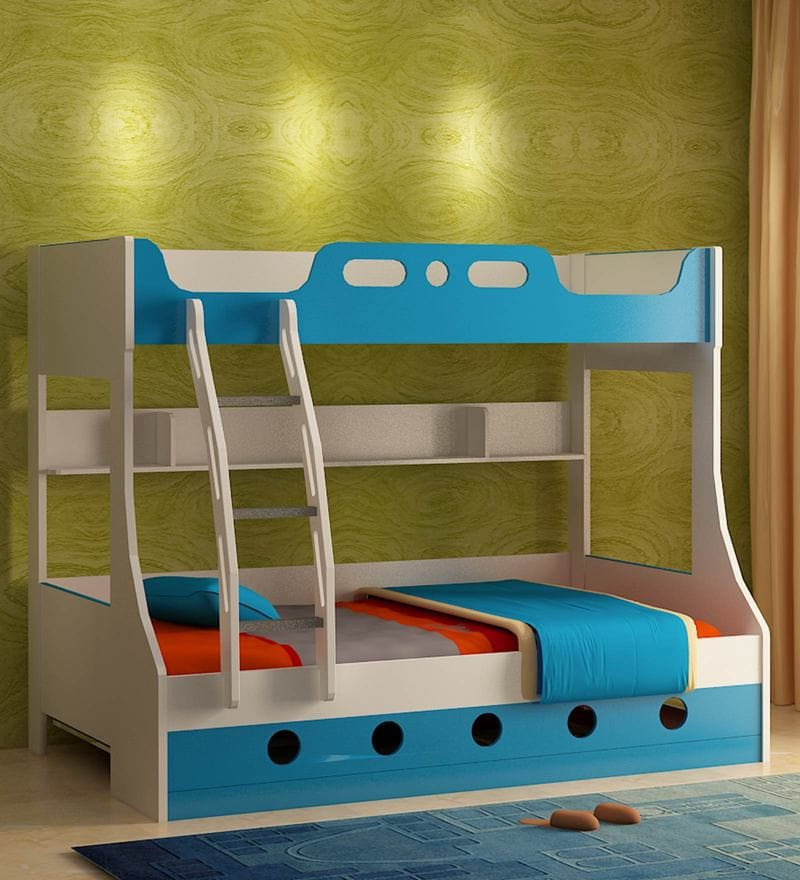 Jerry Engineered Wood Bunk Bed in Blue Colour by HomeTown