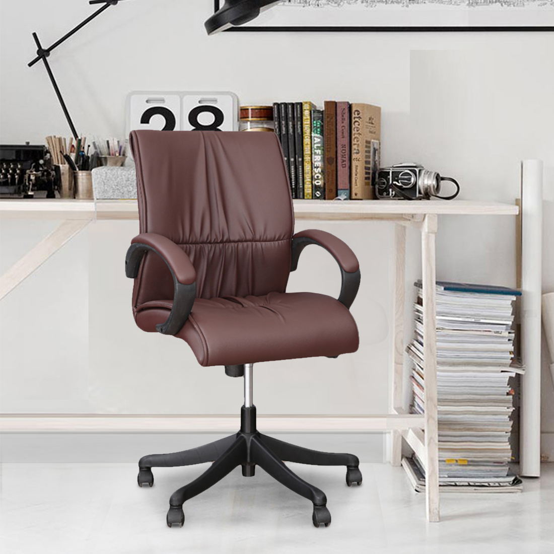 Elanza Mid Back Office Chair in Brown Colour by HomeTown