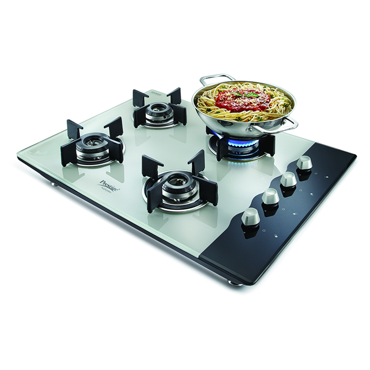 Prestige Hobtop 4 Burner Gas Stove Stainless steel Hobs & Chimney in Multicolor Colour by Prestige