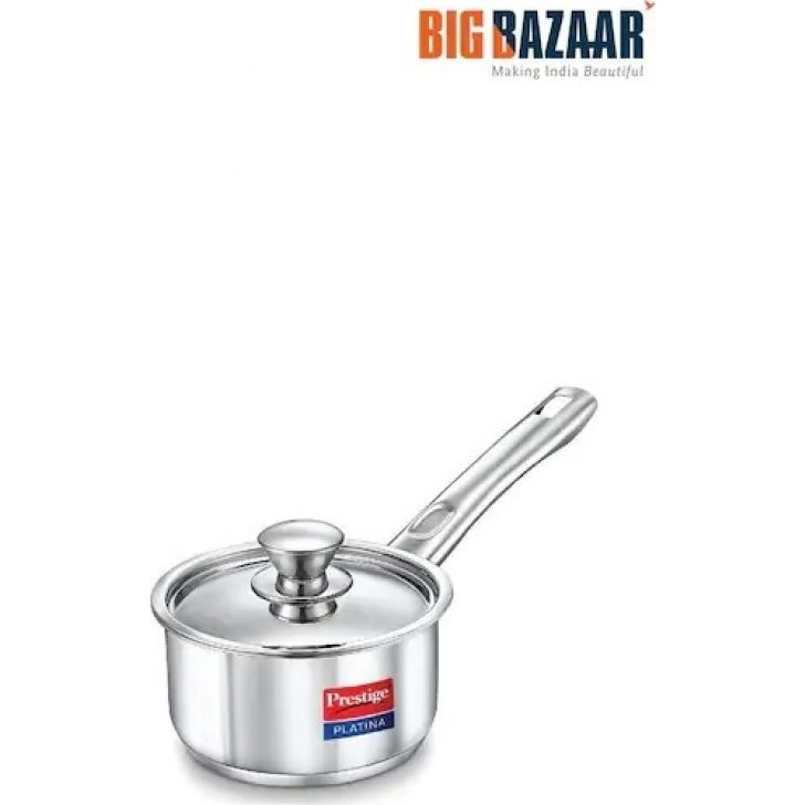Platina Induction Base Sauce Pan 180mm (2 Litres) Stainless steel in Silver Colour by Prestige