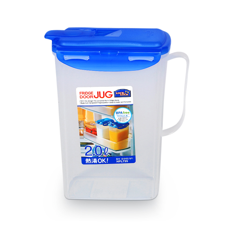 Lock & Lock Transparent Fridge Door Jug With Lid 2 Ltr Plastic Glass Bottles in Clear Colour by Lock & Lock