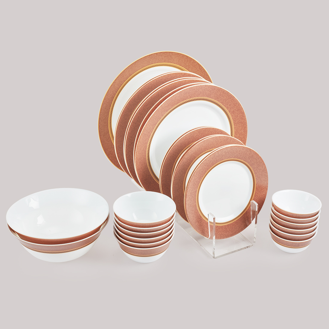Diva Sovrana Dinner Set 27 Pcs Empres Brown Glass Dinner Sets in Multi Colour Colour by Diva