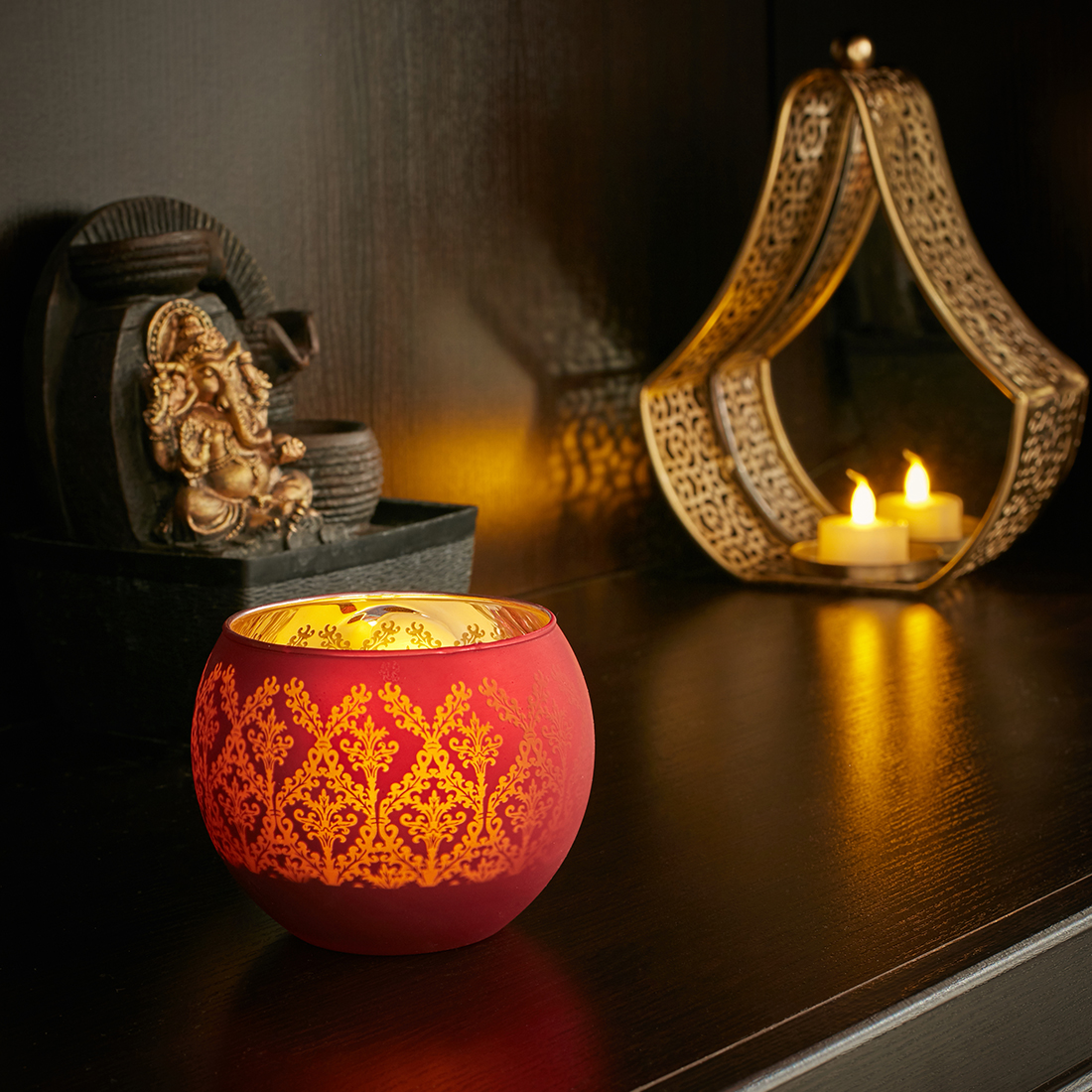 Zahara Baroque Glass Candle Holders in RED Colour by Living Essence