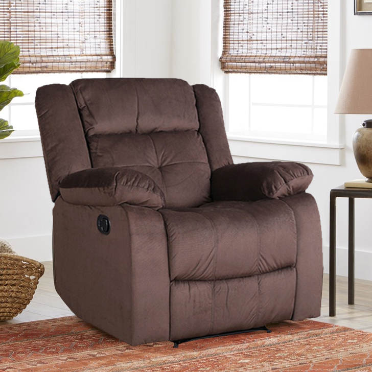 Christopher Fabric Single Seater Recliner in Brown Color by HomeTown