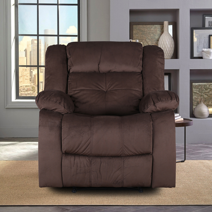Christopher Fabric Single Seater Recliner in Brown Colour by HomeTown