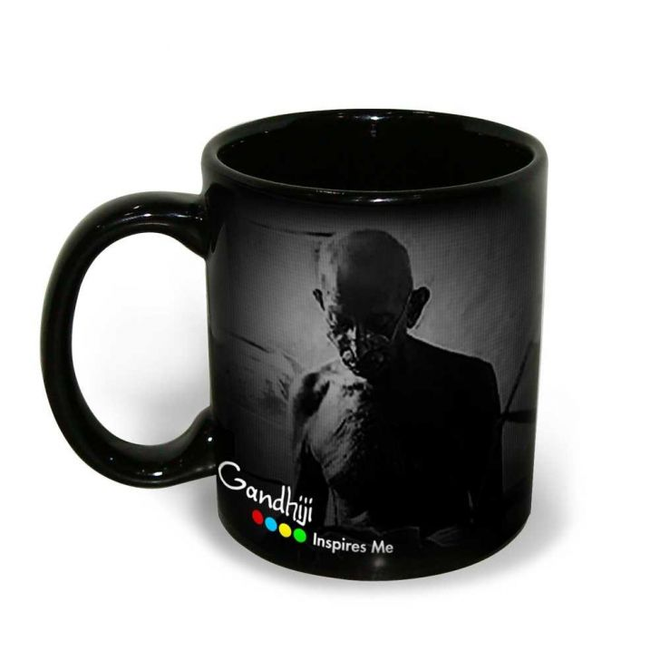 Hot Muggs Mahatma Gandhi Quote on Life and Speed Ceramic Inspirational Mug, 350 ml, 1 Pc Ceramic Coffee Mugs in Black Colour by HotMuggs