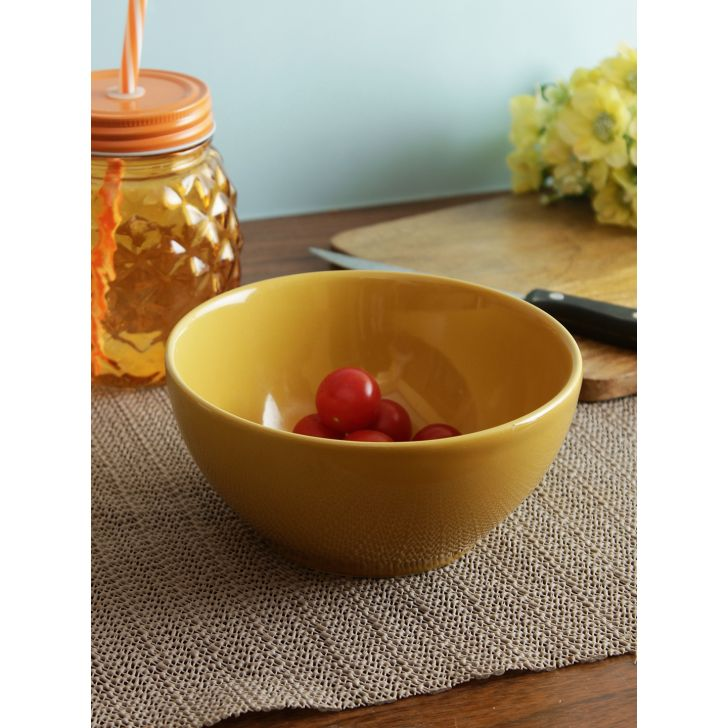 Ceramic Cereal Bowl 6 Inch in Mustard Colour by Living Essence