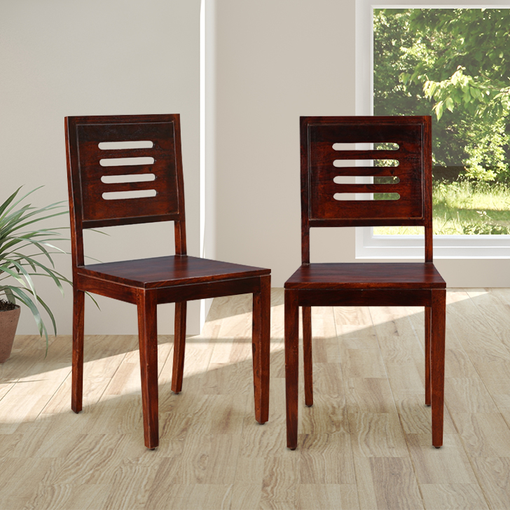 Nathaniel Engineered Wood Dining Chair Set of Two in Mahogany Colour by HomeTown