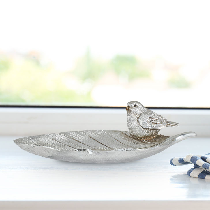 Miraya Fat Bird On Leaf Polyresin Table Decor in Silver Colour by Living Essence
