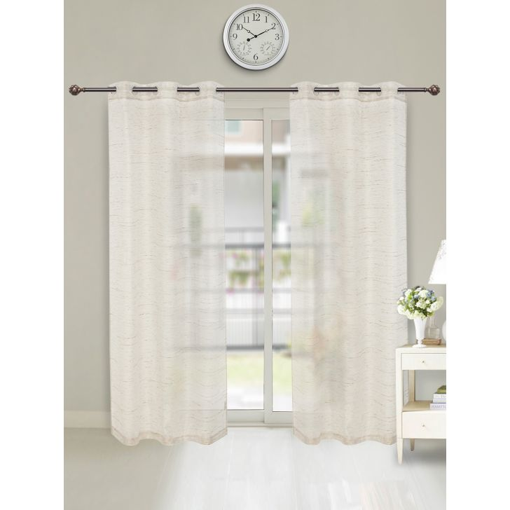 Amour Sheer Set of 2 Polyester Door Curtains in Gold Colour by Living Essence