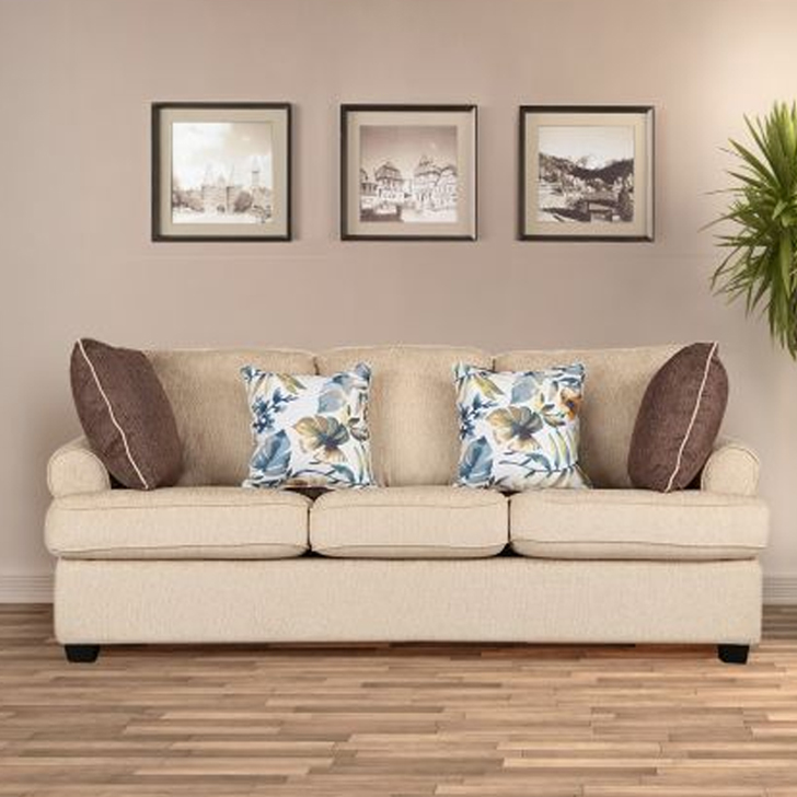 Nicholas Fabric Three Seater sofa in Beige Colour by HomeTown