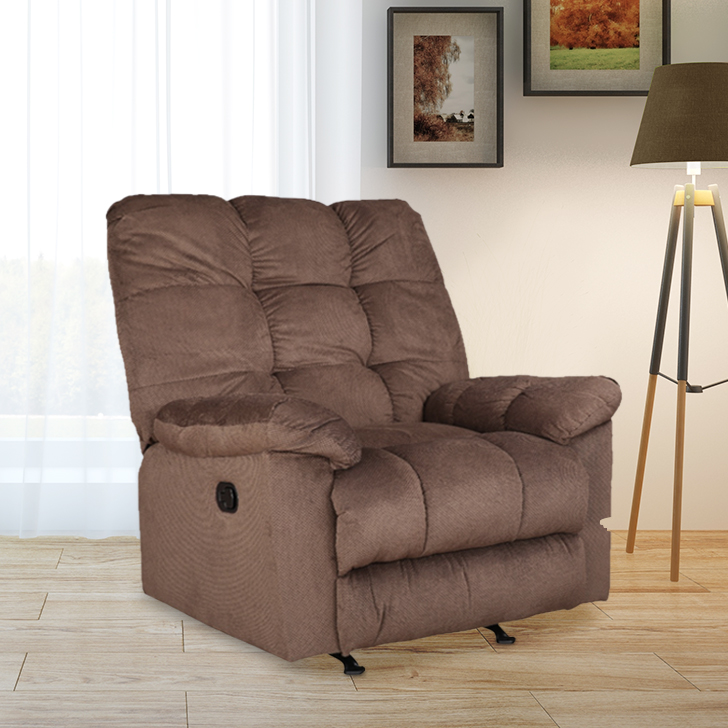 Elliot Fabric Single Seater Recliner in Dark Brown Colour by HomeTown