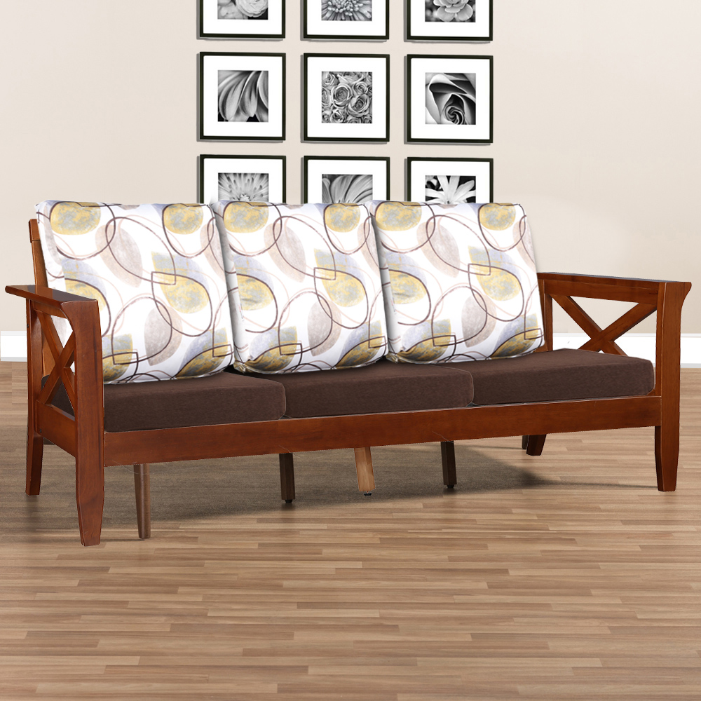 Aldrich Solid Wood Three Seater Sofa With Cushion in Dirty Oak Colour by HomeTown