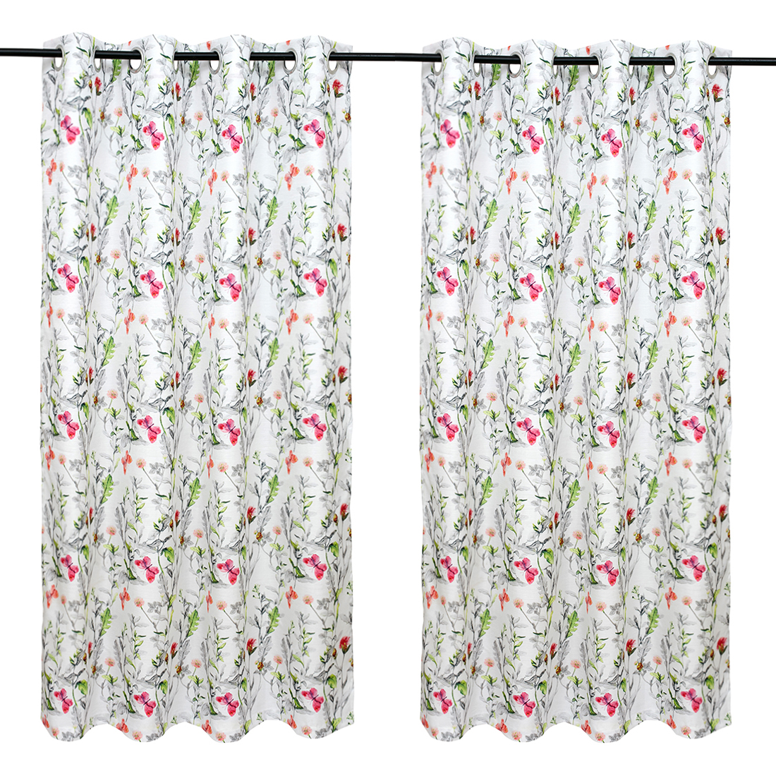 Nora Printed set of 2 Polyester Window Curtains in Citron Colour by Living Essence