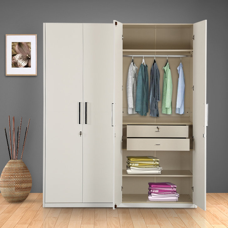 Diana Engineered Wood Four Door Wardrobe in White High Gloss Colour by HomeTown