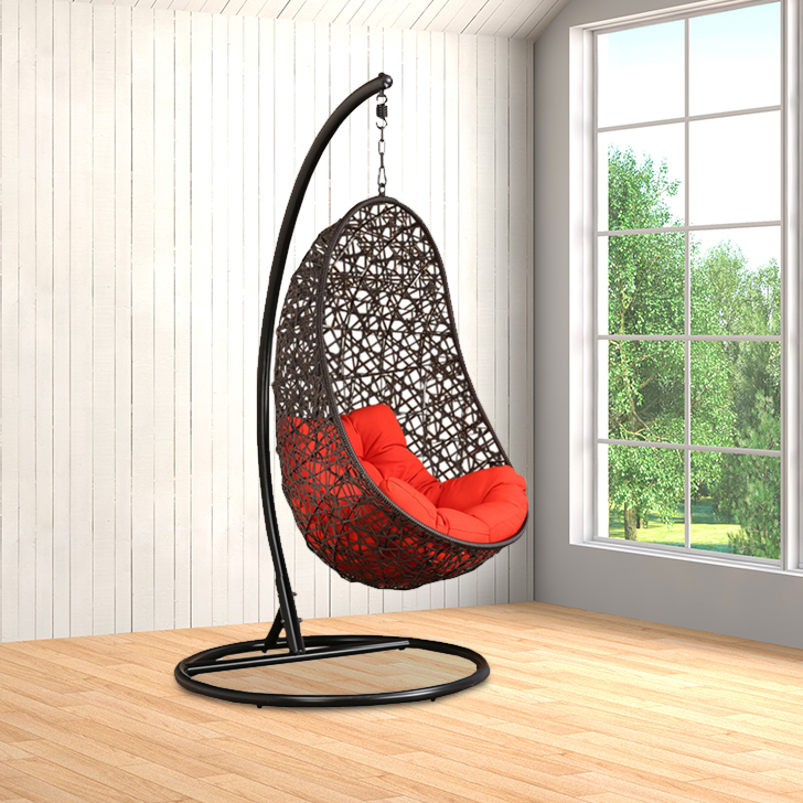 Begonia Mild Steel Outdoor Swing in Brown Colour by HomeTown