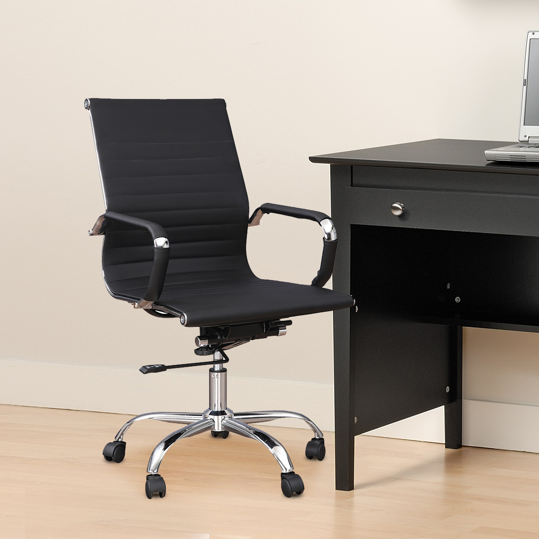 Astra Polyurethane Office Chair in Black Colour by HomeTown