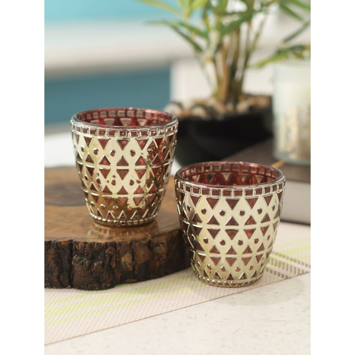 Marvela Glass Set of 2 in Gold Colour by Living Essence