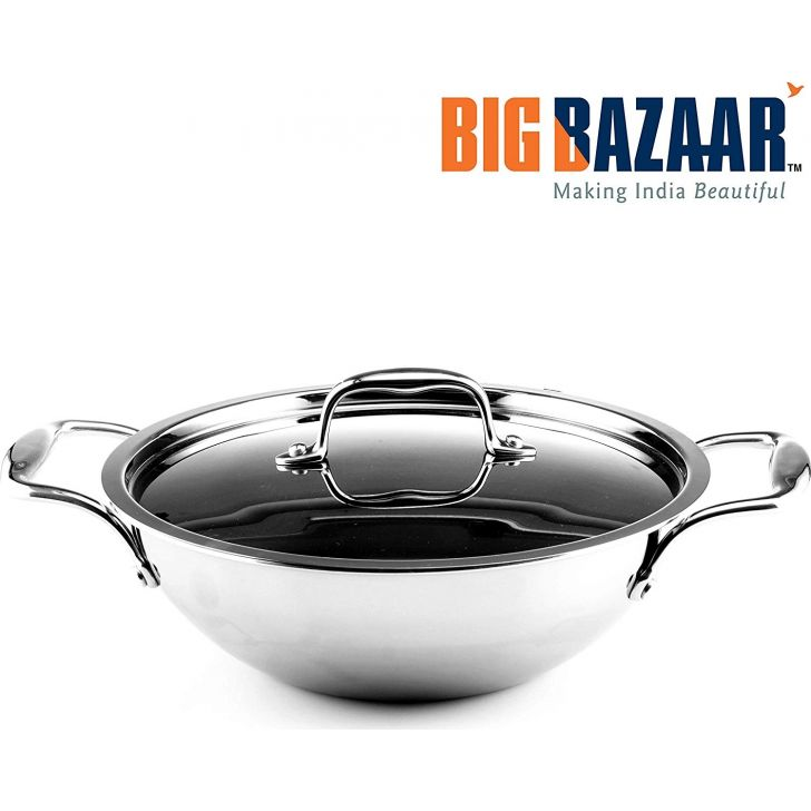 Trinox Triply Induction Base Kadai 20 cm with Lid Stainless steel Cooking Vessels in Silver Colour by Wellberg
