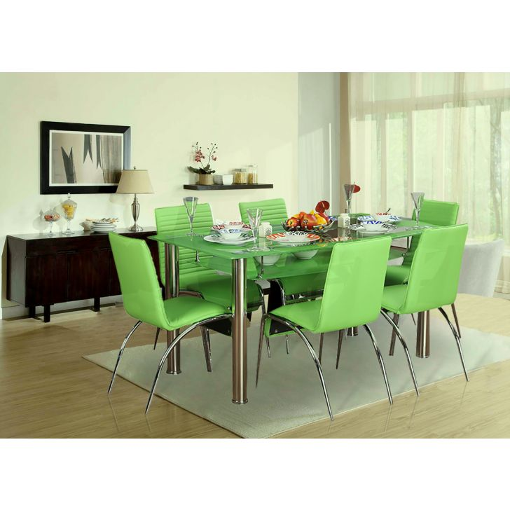 Weiyu Metal Six Seater Dining Set in Fern Colour by HomeTown