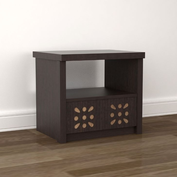 Relaxo Engineered Wood Bedside Table in Wenge Colour