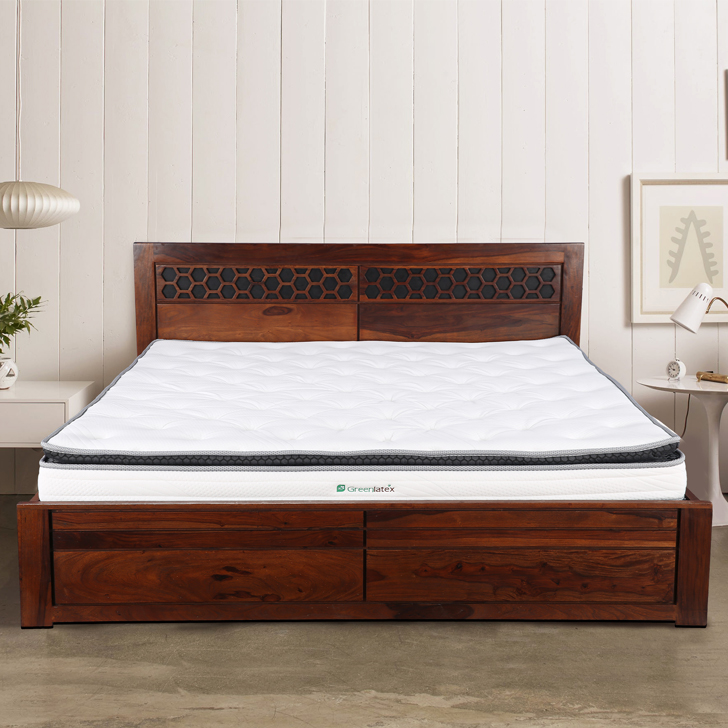 Green Latex Natural Firm & Support King Bed Mattress in White Colour by HomeTown