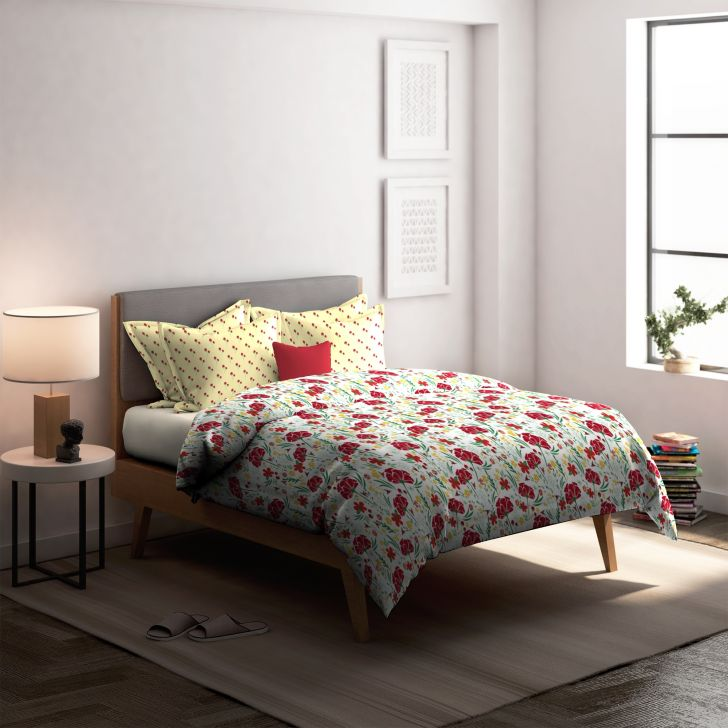 Honey Brush Cotton Double Bedsheet in Red Colour by Dreamline