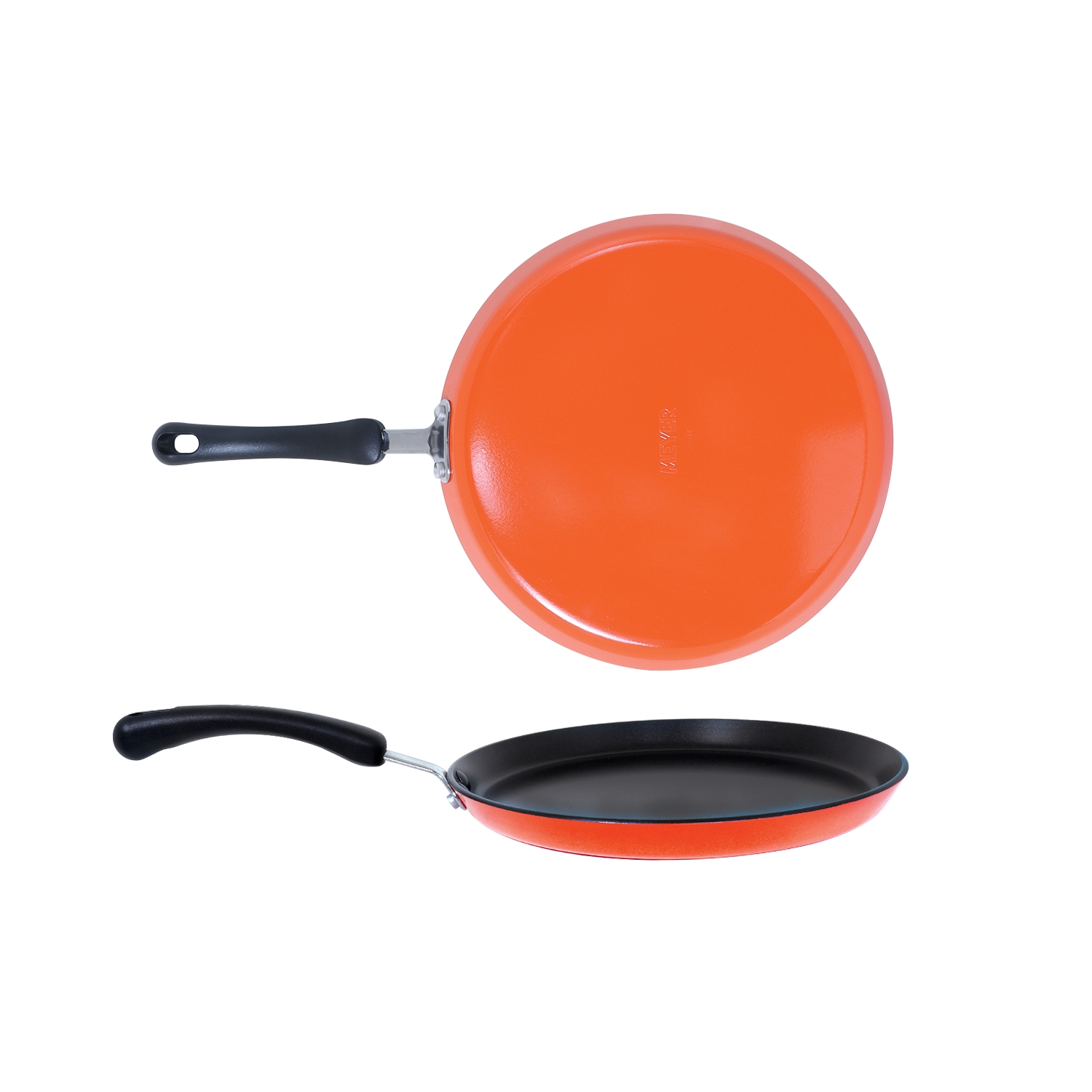 Premium Non Stick 26Cm Flat Dosa Tawa 4Mm Thick, Orange Aluminum Tawa in Orange Colour by meyer