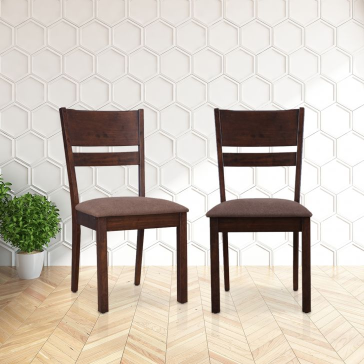 Hopton Solid Wood Dining Chair Set of Two in Brown Colour by HomeTown