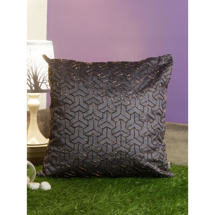 Bourbon Cotton Cushion Covers in Charcoal Colour by Living Essence