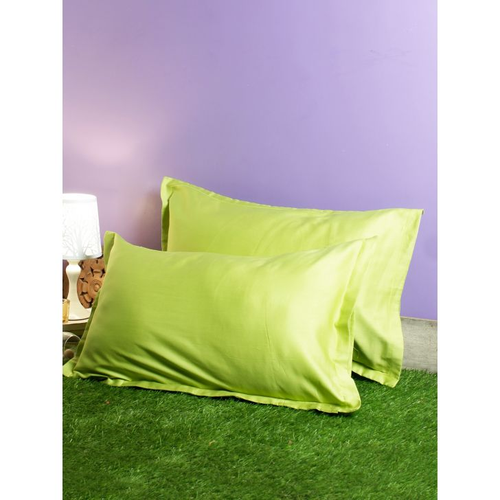 Set of 2 Nora Palette Solid Polyester Pillow Covers in Citron Colour by Living Essence