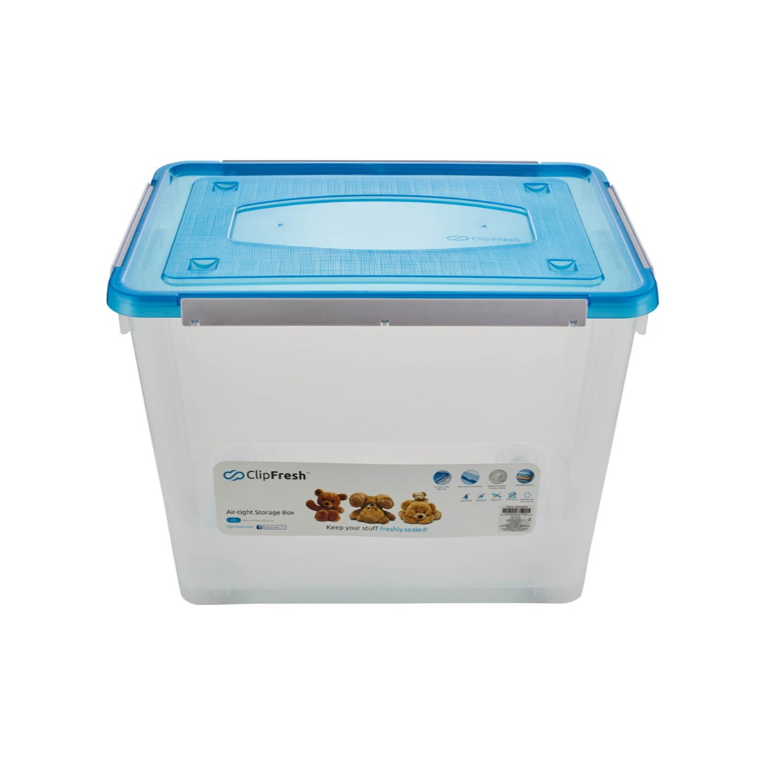 Clip Fresh Storage Box Ltr. Wheel Plastic Kitchen Storage in Translucent With Blue Lid Colour by Living Essence