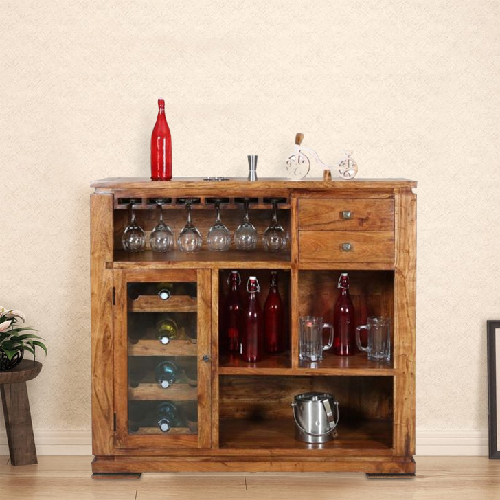 Leopold Solid Wood Bar Cabinet in Walnut  & Black Colour by HomeTown